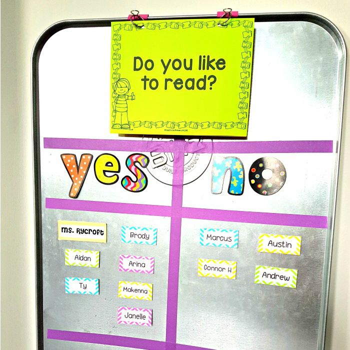 metal drip pan used for a question of the day board