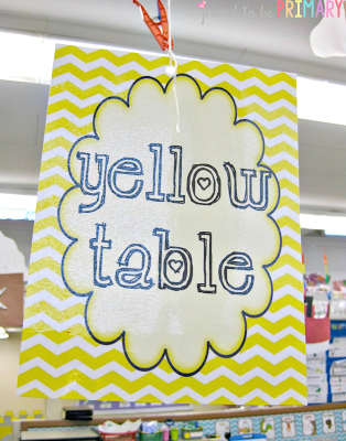 classroom behavior system - table groups signs