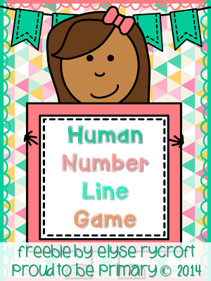 Human number line game with 3 digit addition.