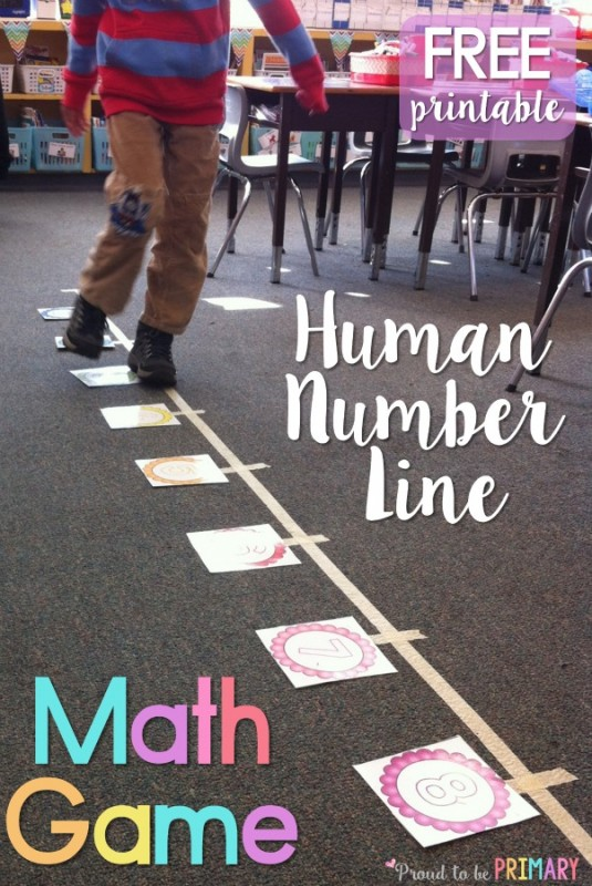 Primary teachers will love this FREE math learning game that gets kids moving on a human number line while practicing their addition skills. This math activity can be modified to work with any set of math flash cards and to practice math facts.