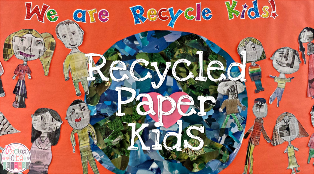 earth day ideas: recycled newspaper kids bulletin board