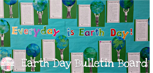 earth day ideas: photo of child holding up the earth and writing activity - bulletin board