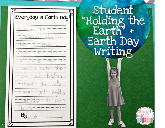 earth day ideas: photo of child holding up the earth and writing activity