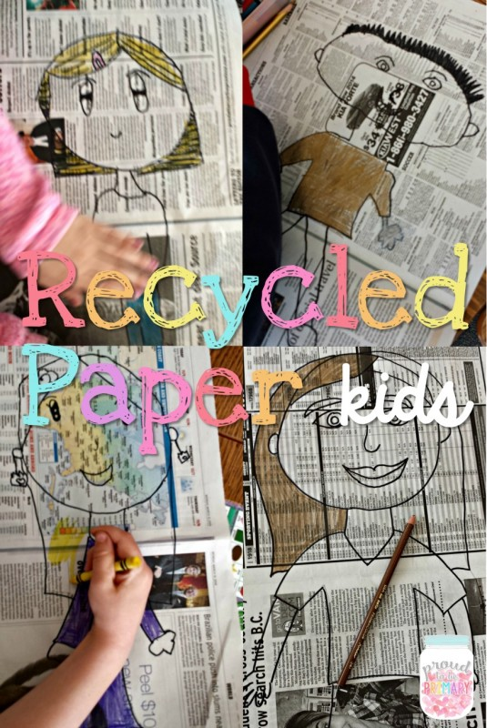 earth day ideas: recycled newspaper kids