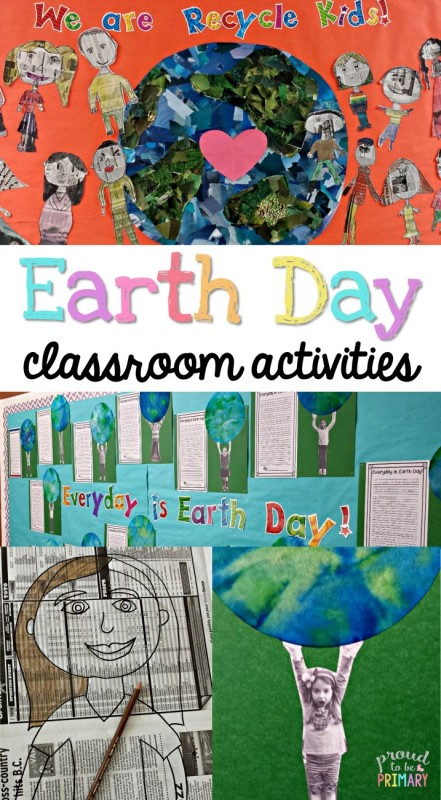Earth day classroom activities | Earth Day is an important day for teachers to teach children about keeping the Earth clean and caring for the Earth. Try these engaging classroom activities, including Earth Day bulletin boards using newspaper kids, art activities, and find book suggestions and writing lessons. #earthday #earthdayforkids #earthdayactivities #earthdayart #artforkids