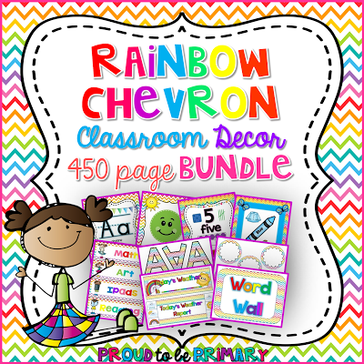Rainbow Chevron Classroom Decor