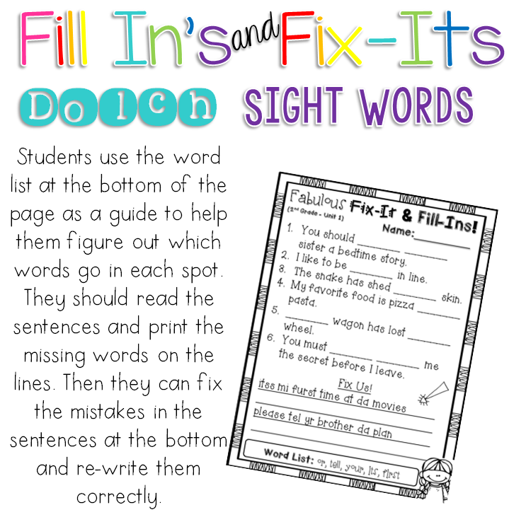 Fill-ins and fix-its dolch sight word activities