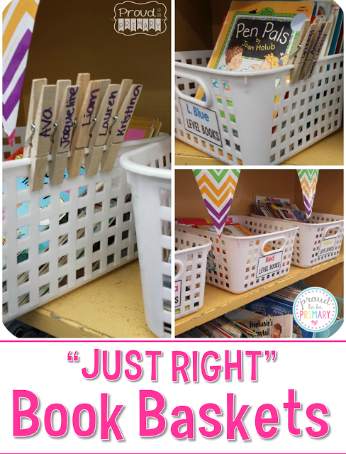 setting up a classroom and home reading program - just right book baskets