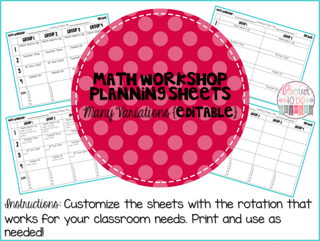 Complete Math Workshop Tool Kit - planning sheets