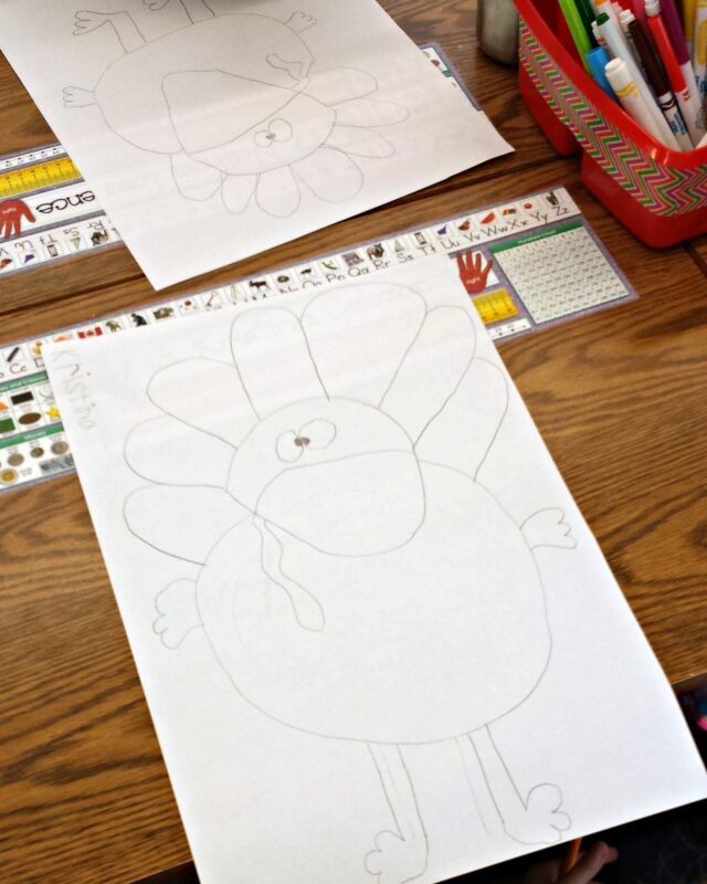 another kid drawing of a turkey