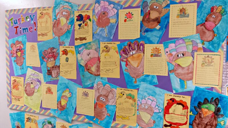 turkey time writing bulletin board