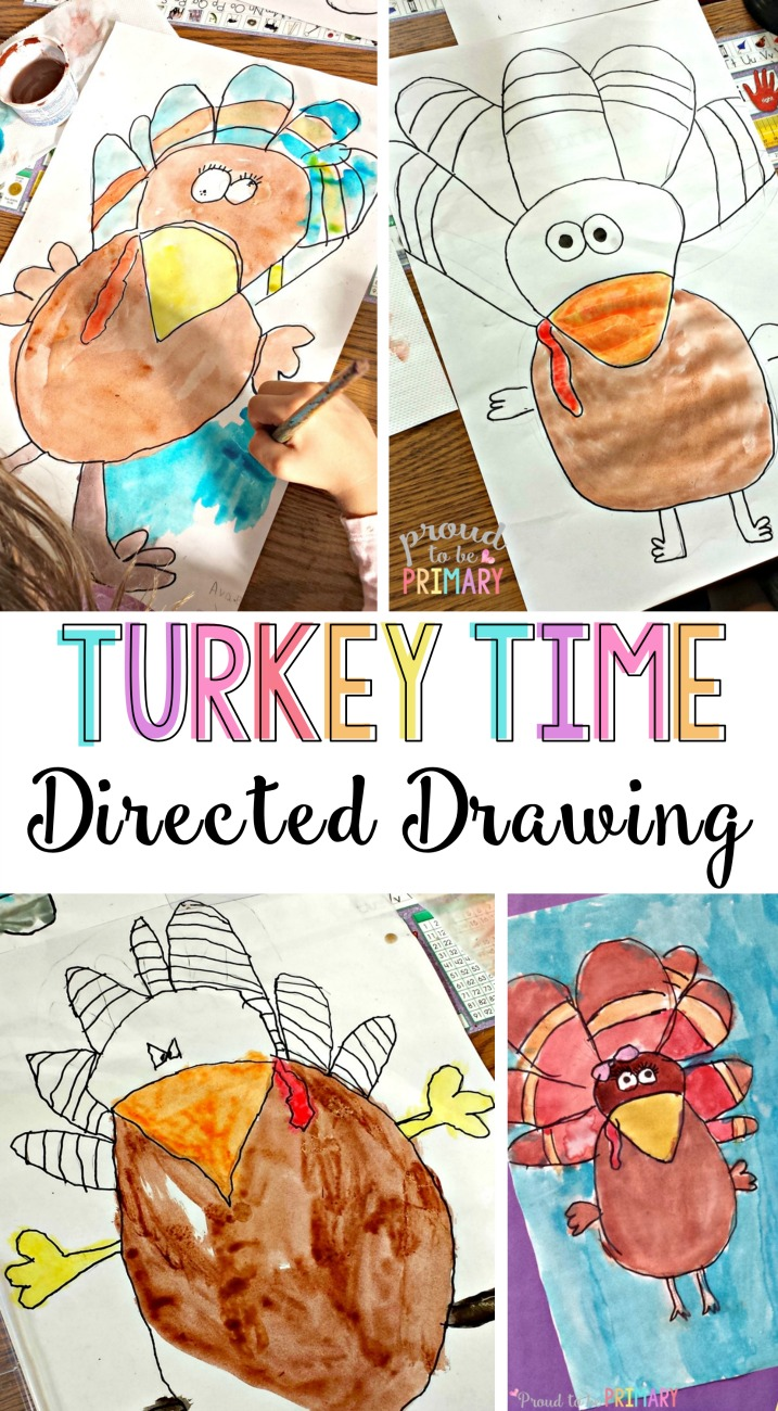 Looking for the perfect arts and craft activity for Thanksgiving? This turkey directed drawing provides teachers with a step-by-step lesson that kids will love! Grab the FREE printable directed drawing instructions. #turkeyart #turkeycraft #thanksgivingactivities #directeddrawing #fallart #fallcrafts #artforkids #craftsforkids #autumnart #kidart