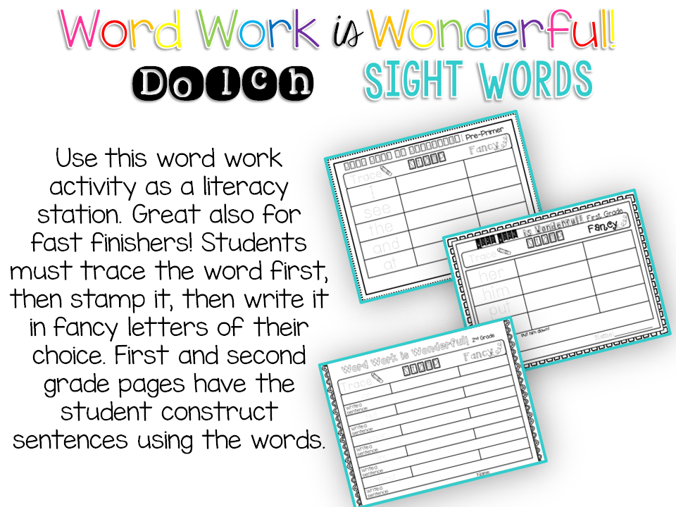 Word work for Dolch sight words