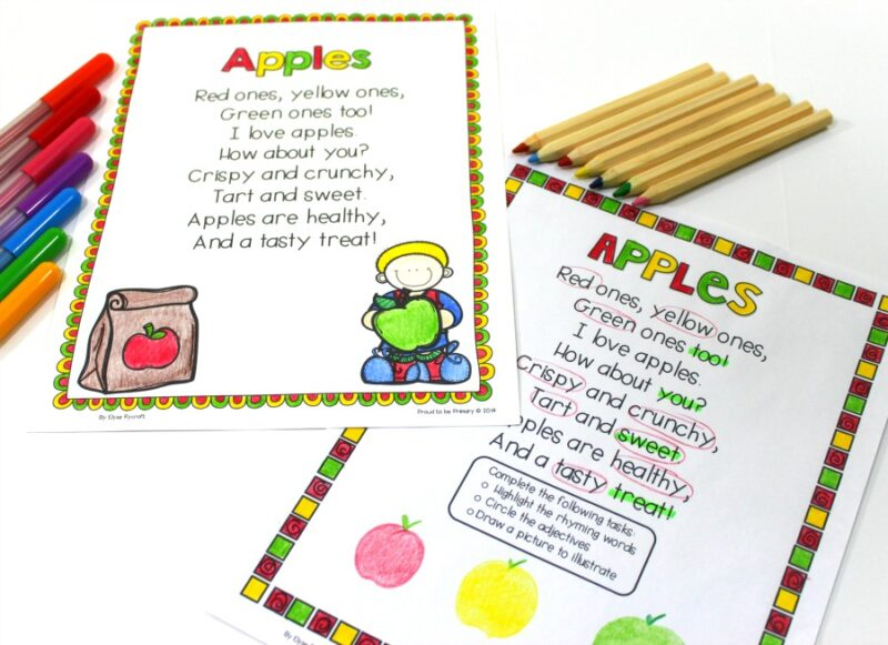 poetry activity - rhyming and sight words