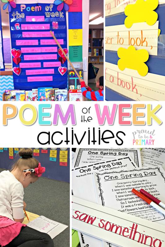 poetry activities - poem of the week