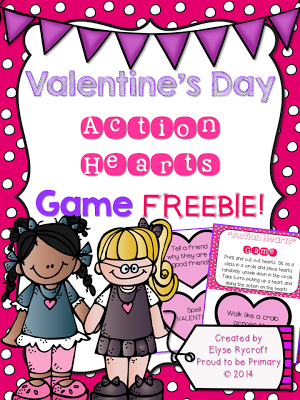 valentine's day activities for elementary school - action hearts game freebie