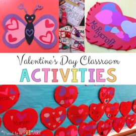 Teachers will LOVE these Valentine's Day activities for primary classroom children, including a DIY heart pocket craft, learning a poem of the week, a FREE Action Hearts game, and more celebration fun!