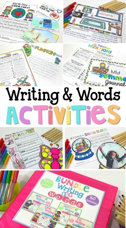 Writing and word activities for kids for every season of the year. Teach your students how to write creatively and have fun with all the ideas for writing poetry, story writing, and word work in these resources. FREE writing activities are included. #wordwork #teachingwriting #creativewriting #poetrywriting #kidwriting