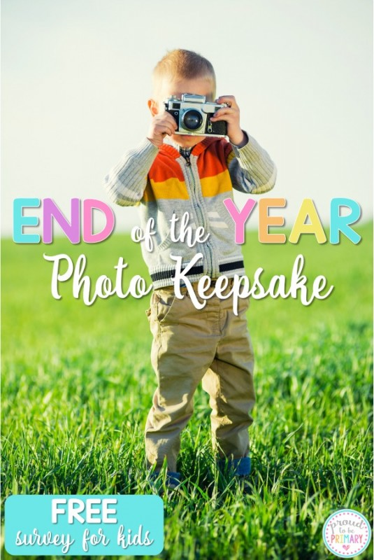Looking for special keepsake idea for students for the end of the school year? Teachers and kids will love this fun photo idea. Includes a FREE printable survey to get teachers organized and kids writing!