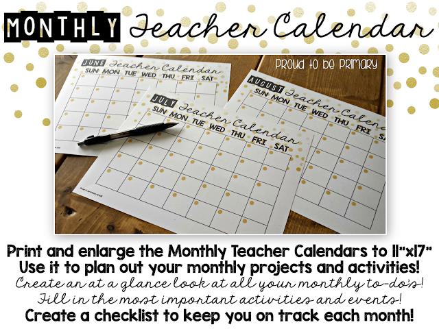 Summer Teacher Calendar & Planner FREEBIE