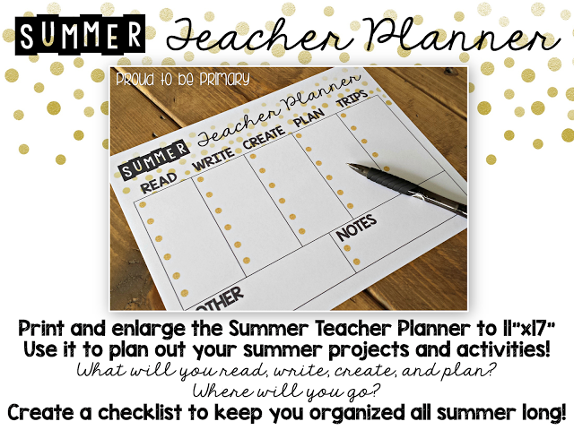 Summer Teacher Calendar & Planner FREEBIE from Proud to be Primary.