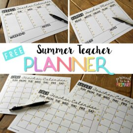 Teacher Organization: Free Summer Planning Calendar