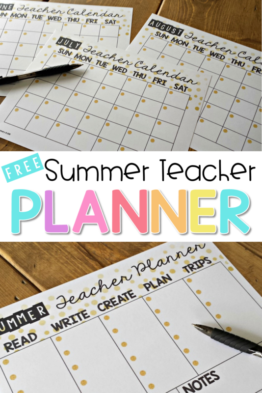 summer teacher organization planner