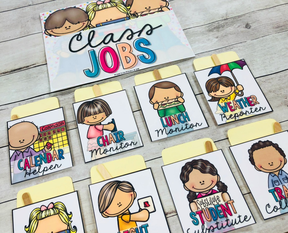 classroom jobs using library pocket charts