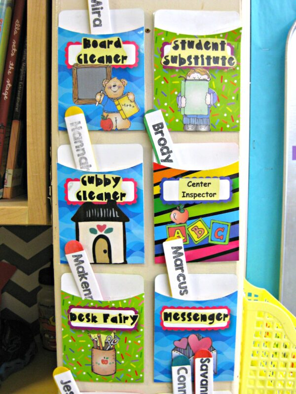 classroom jobs for kids using library pockets and popsicle sticks