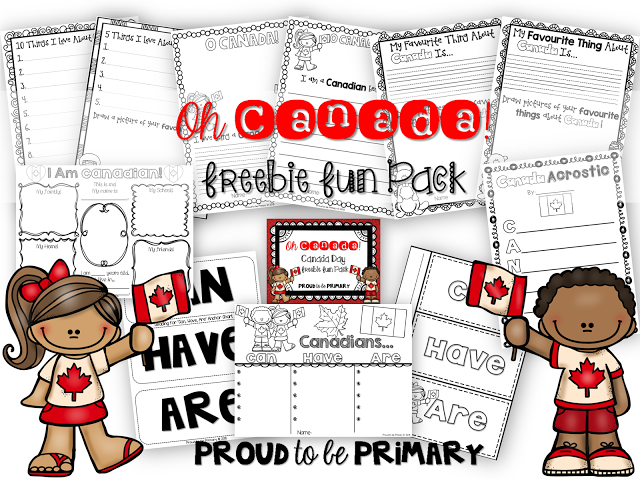 Canada Day freebie pack of writing activities by Proud to be Primary