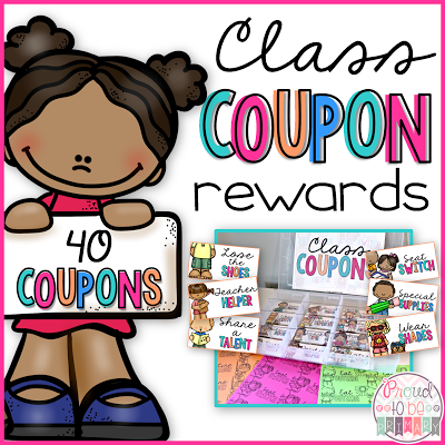 Class Coupons for back to school and classroom management. Create a coupon box full of fun coupon rewards for your students. By Proud to be Primary.