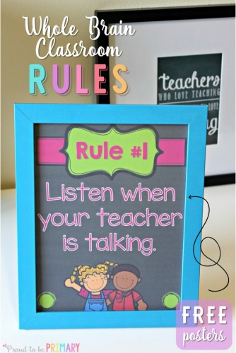 Do you use Whole Brain teaching as a classroom management approach with your students? Teach children the whole brain rules that are active, fun, and help them retain the important classroom rules! Head here for FREE printable posters!