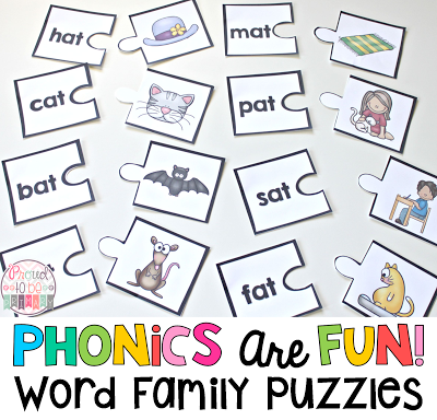 Word Families: Proven Method for Teaching Reading - word family puzzles