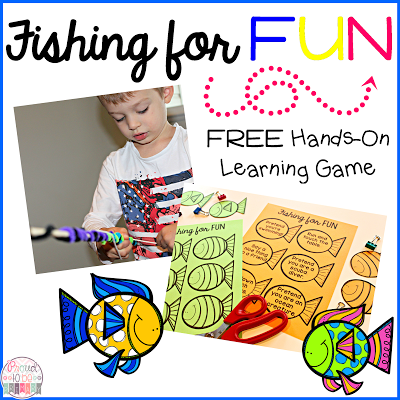 Hands-on learning with the FREE Fishing for FUN game by Proud to be Primary.