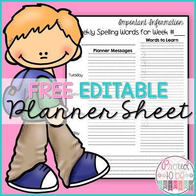 parent communication - free editable planner sheet