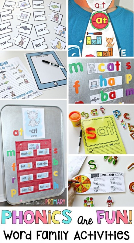 Fun ideas for teaching primary children to read. Teaching word family activities and lessons in the classroom will help kids learn to read and spell through phonics and hands-on activities. #wordfamilies #phonics #earlyliteracy #literacy #teachingreading #kindergarten #wordwork