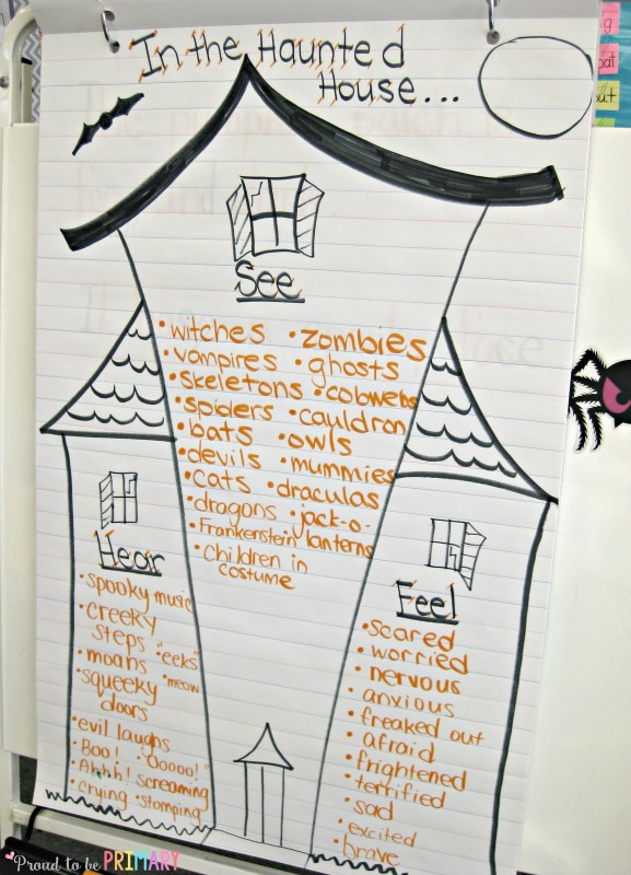 Halloween Haunted House Writing: In the Haunted House by Proud to be Primary. An anchor chart to build Halloween vocabulary.