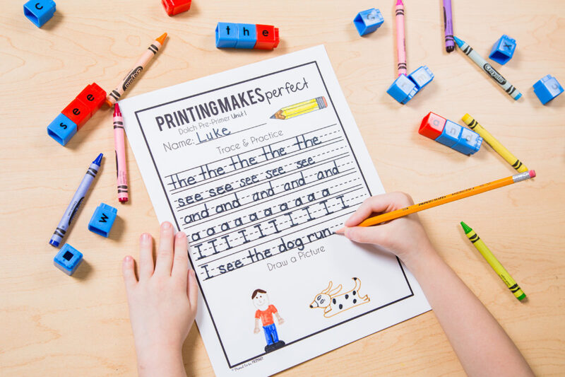 sight word printing sheets