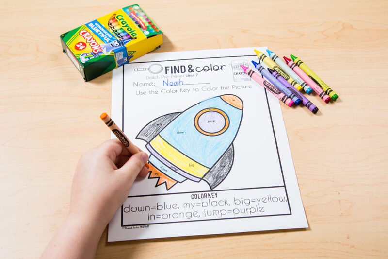 sight word find and color worksheets