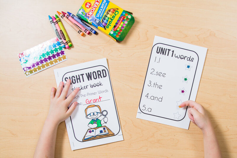 sight word sticker book assessments