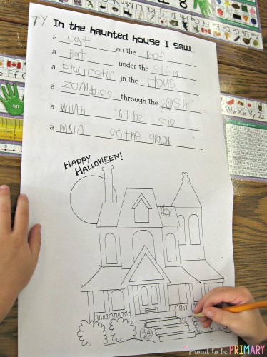 Halloween Haunted House Writing: In the Haunted House by Proud to be Primary. A lesson to teach Halloween vocabulary using the senses and positional words.
