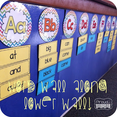 learning sight words - word wall along lower wall