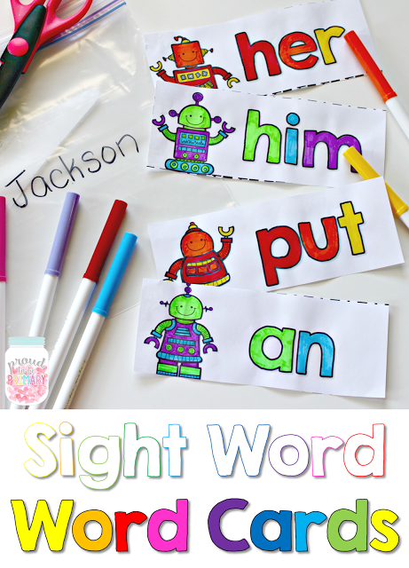 learning sight words - word cards