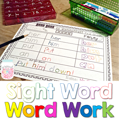 learning sight words - word work