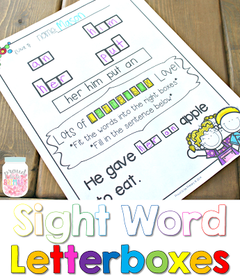 learning sight words - sight word letter boxes