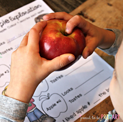 Proud to be Primary: Preschool apple exploration using our 5 senses, simple science, thematic books, taste testing, and more. Includes a FREE apple exploration kit!