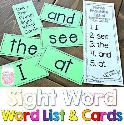 learning sight words - word list and cards