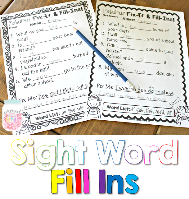 learning sight words - fill ins