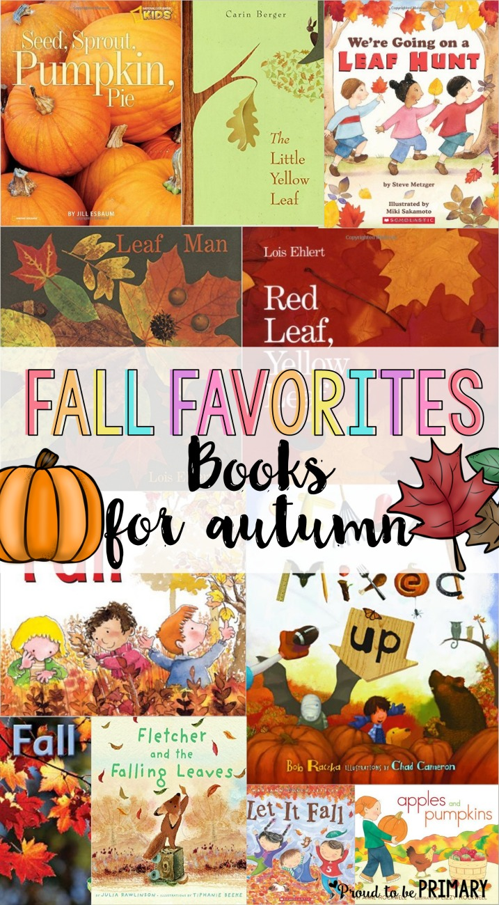 Lists for teachers of favorite children's books for fall. Includes fiction and non-fiction books about pumpkins, leaves, spiders, bats, and owls.