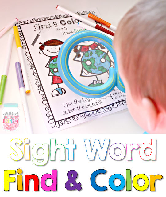 learning sight words - find and color